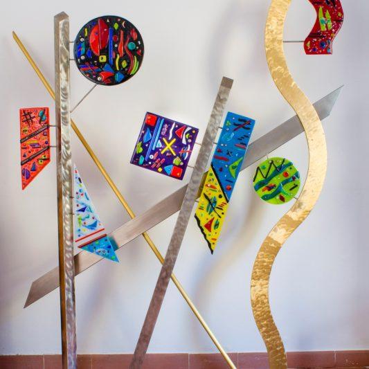 """Keeping a Delicate Balance 70"""" w x 79"""" h x 10"""" d - Jill Casty Art"""