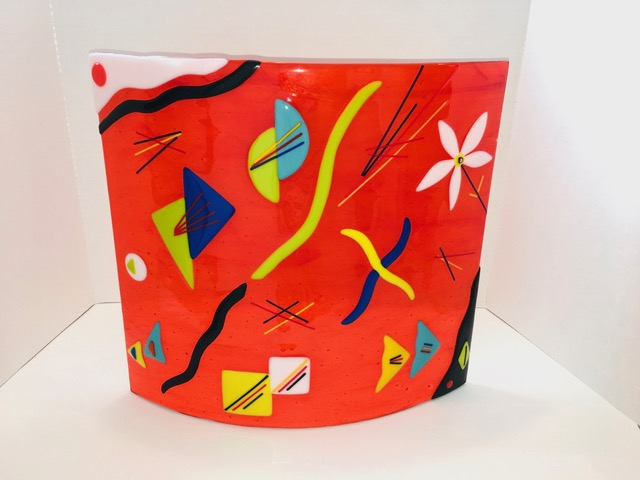 "Abstraction in Orange 15"" w x 14"" h x 3"" d by Jill Casty Art"
